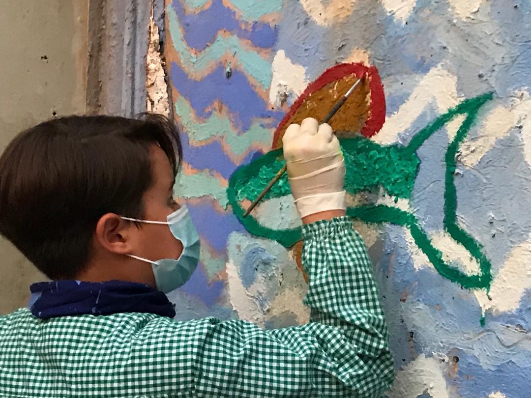 Reciclem la paret del pati del Carrau